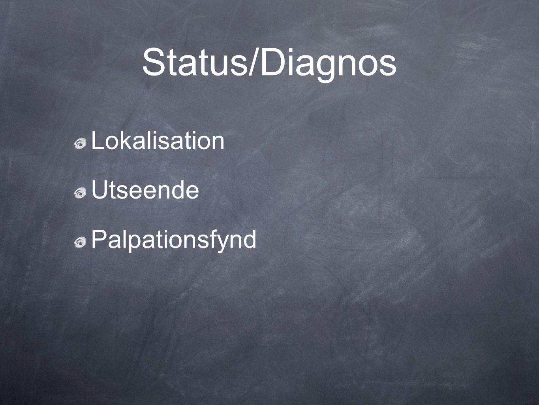 Status/Diagnos Lokalisation Utseende Palpationsfynd