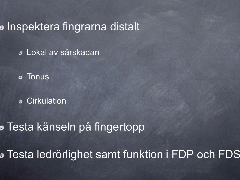 Inspektera fingrarna distalt