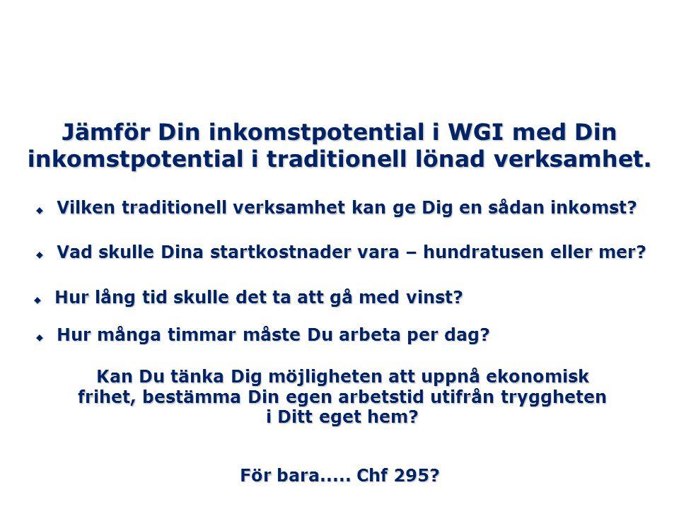 Jämför Din inkomstpotential i WGI med Din inkomstpotential i traditionell lönad verksamhet.