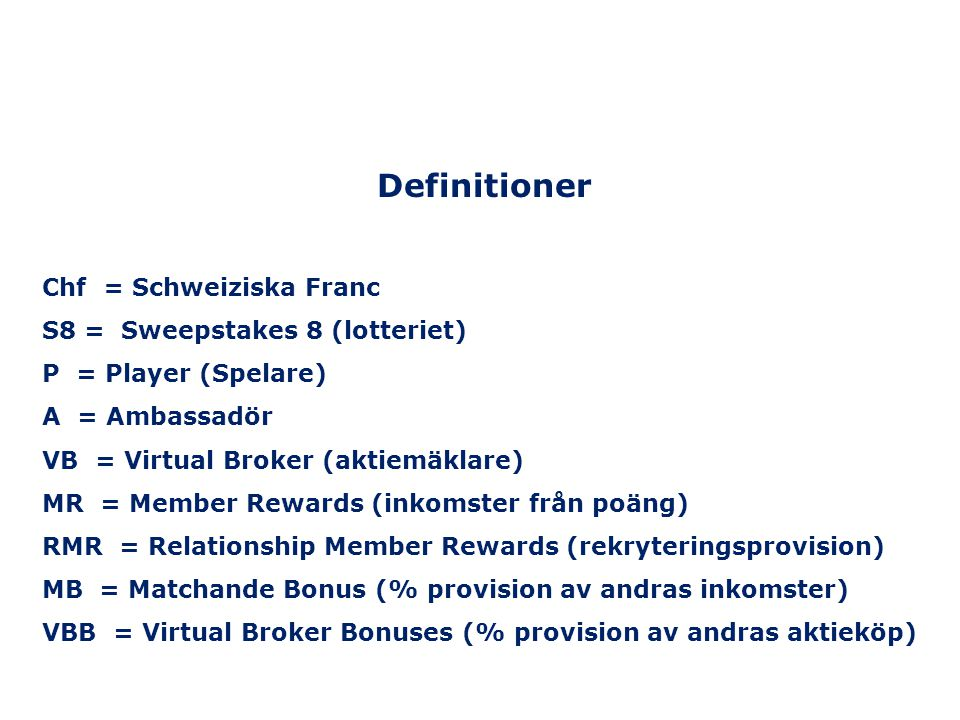 Definitioner Chf = Schweiziska Franc S8 = Sweepstakes 8 (lotteriet)