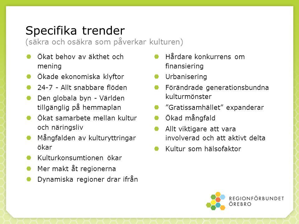Specifika trender (säkra och osäkra som påverkar kulturen)