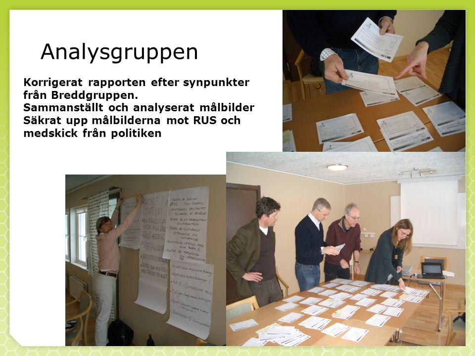 Analysgruppen Korrigerat rapporten efter synpunkter från Breddgruppen.