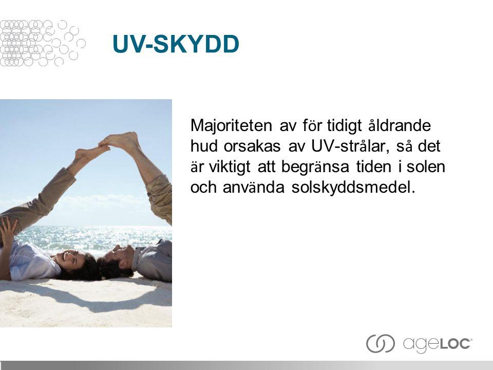 UV-SKYDD Majoriteten av för tidigt åldrande hud orsakas av UV-strålar, så det är viktigt att begränsa tiden i solen och använda solskyddsmedel.