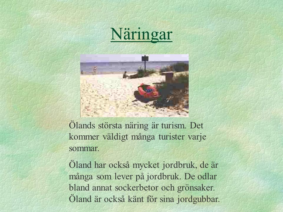 Näringar Ölands största näring är turism. Det kommer väldigt många turister varje sommar.
