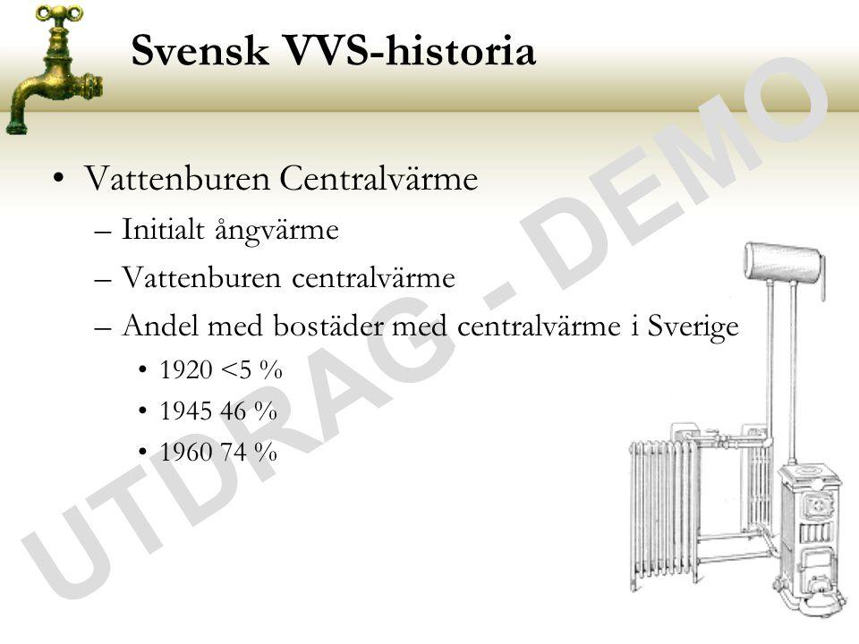 UTDRAG - DEMO Svensk VVS-historia Vattenburen Centralvärme