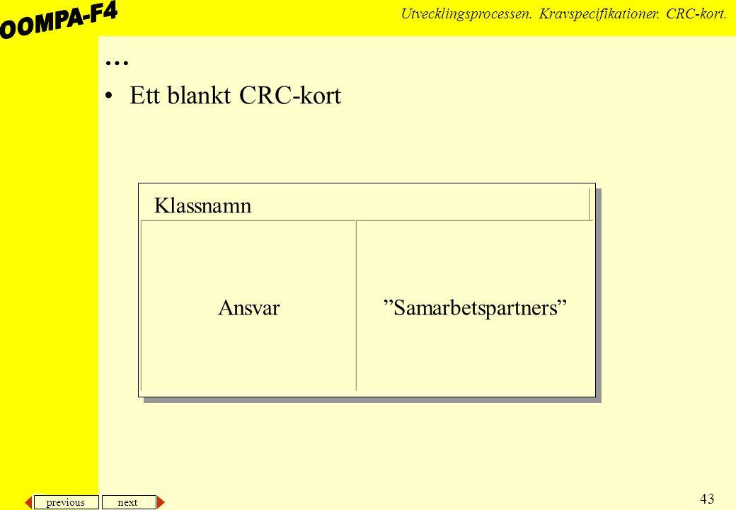 … Ett blankt CRC-kort Klassnamn Ansvar Samarbetspartners