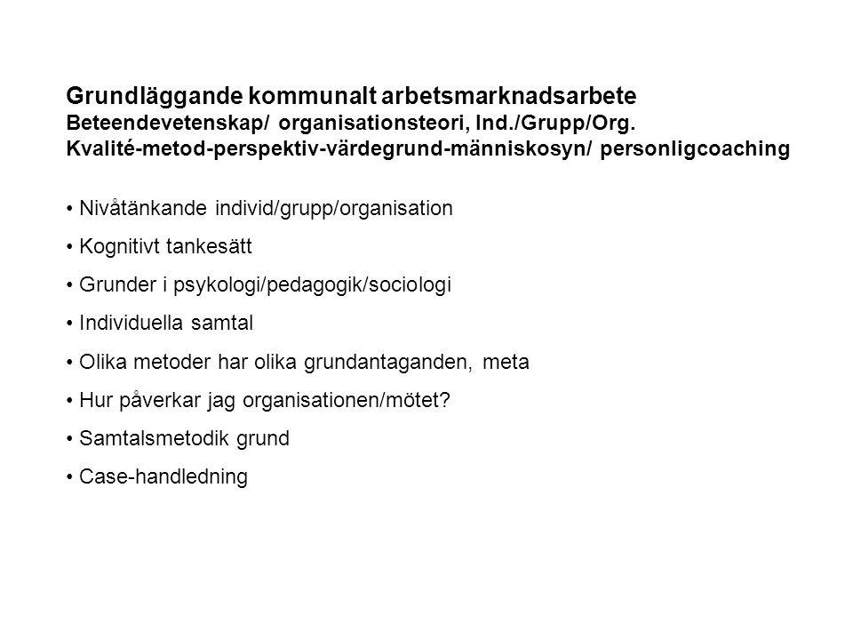 Grundläggande kommunalt arbetsmarknadsarbete