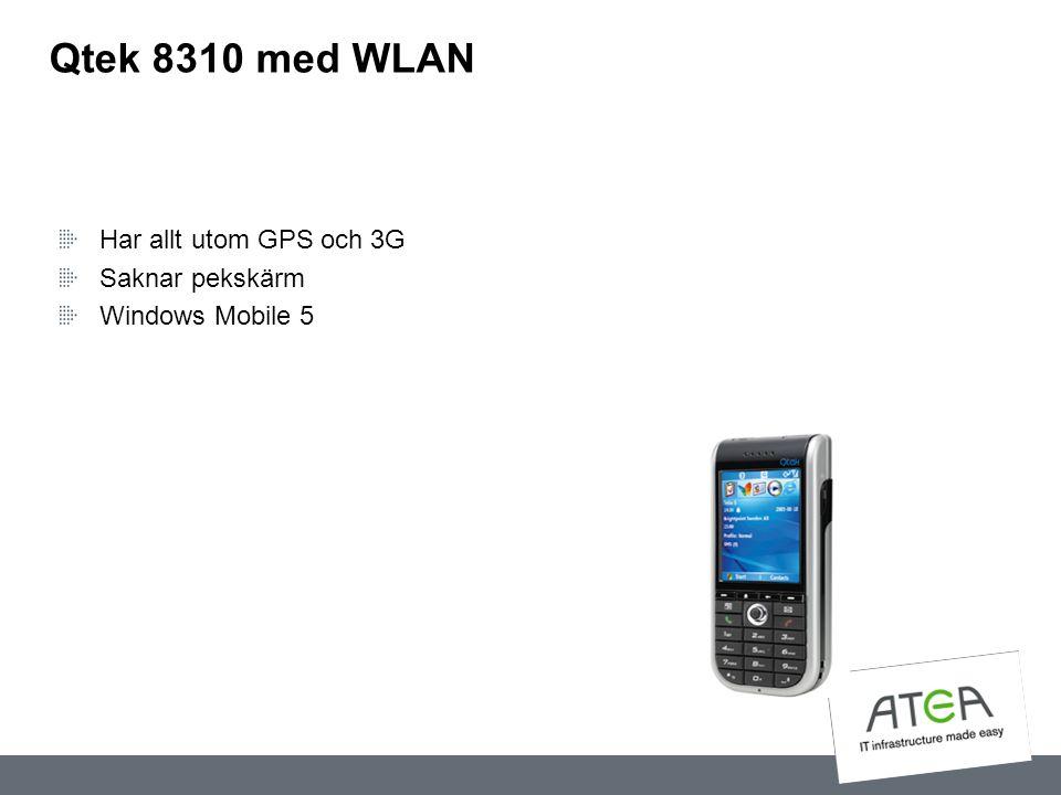 Qtek 8310 med WLAN Har allt utom GPS och 3G Saknar pekskärm