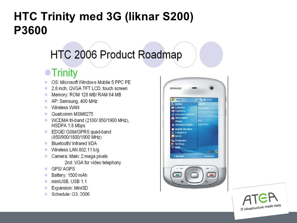 HTC Trinity med 3G (liknar S200) P3600