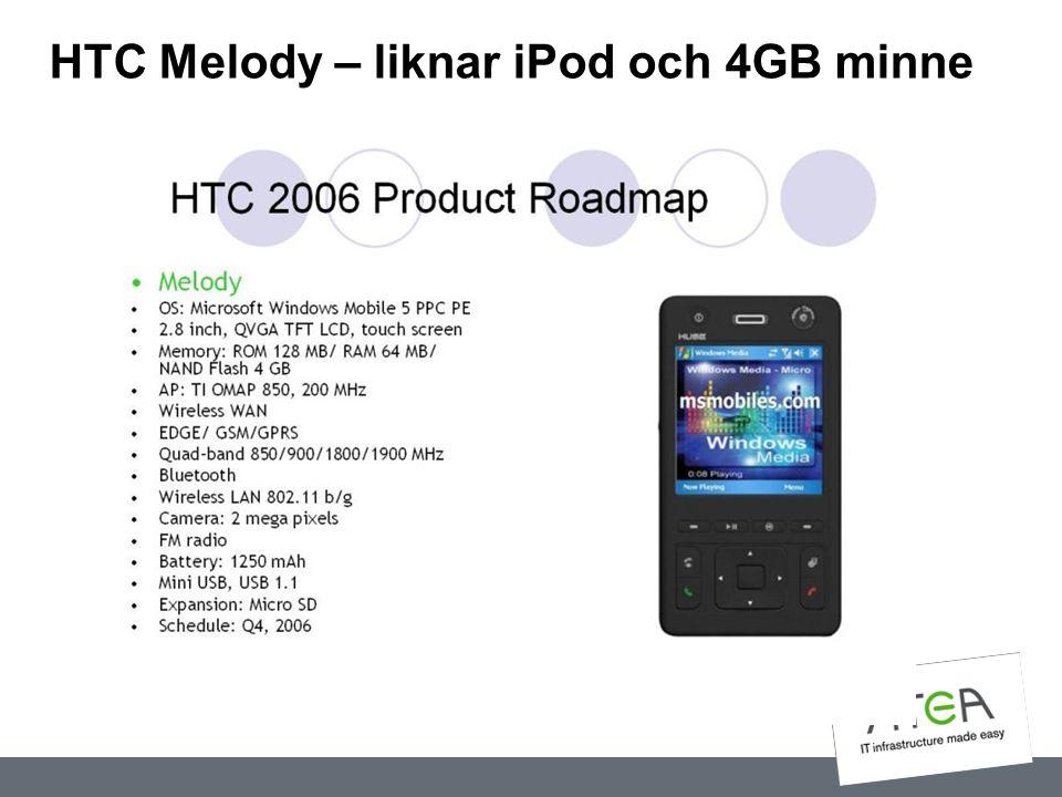 HTC Melody – liknar iPod och 4GB minne