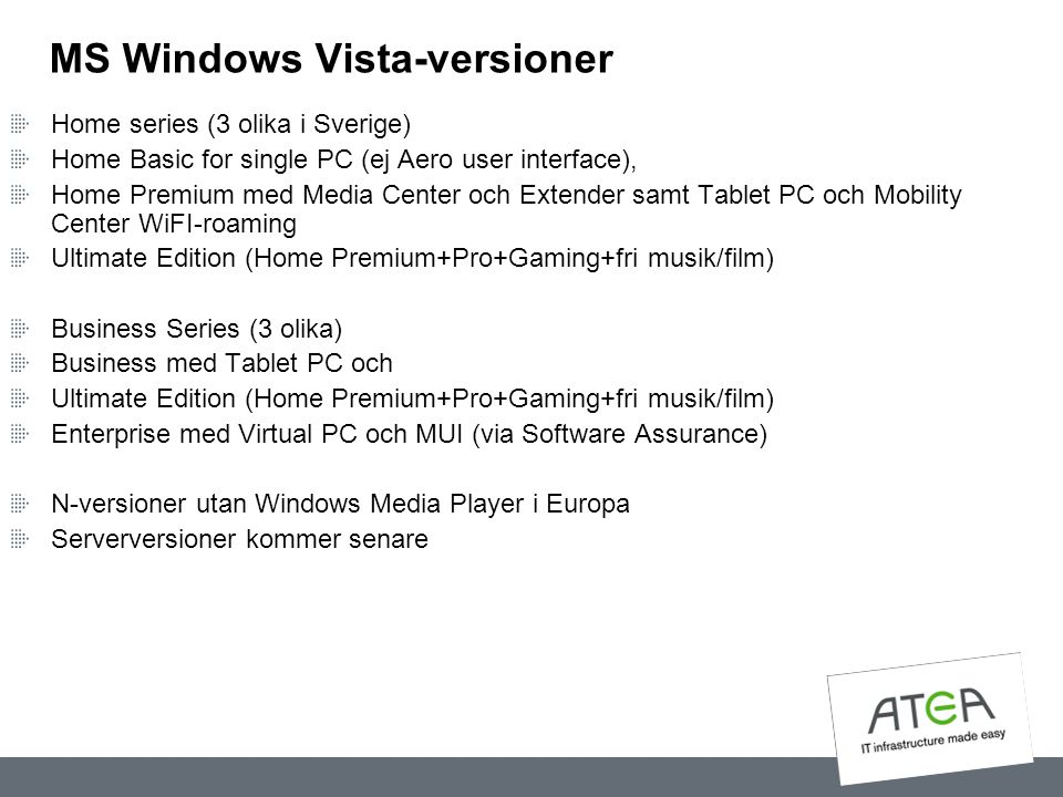 MS Windows Vista-versioner