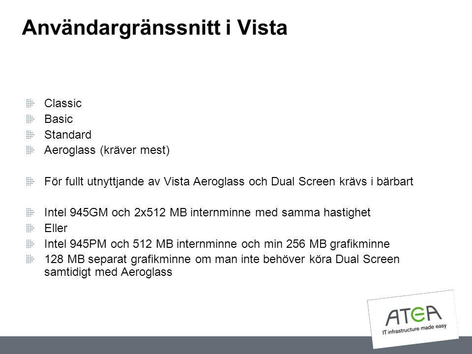 Användargränssnitt i Vista