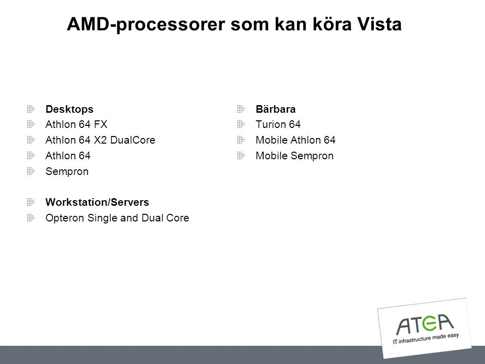 AMD-processorer som kan köra Vista