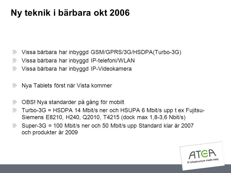 Ny teknik i bärbara okt 2006 Vissa bärbara har inbyggd GSM/GPRS/3G/HSDPA(Turbo-3G) Vissa bärbara har inbyggd IP-telefoni/WLAN.