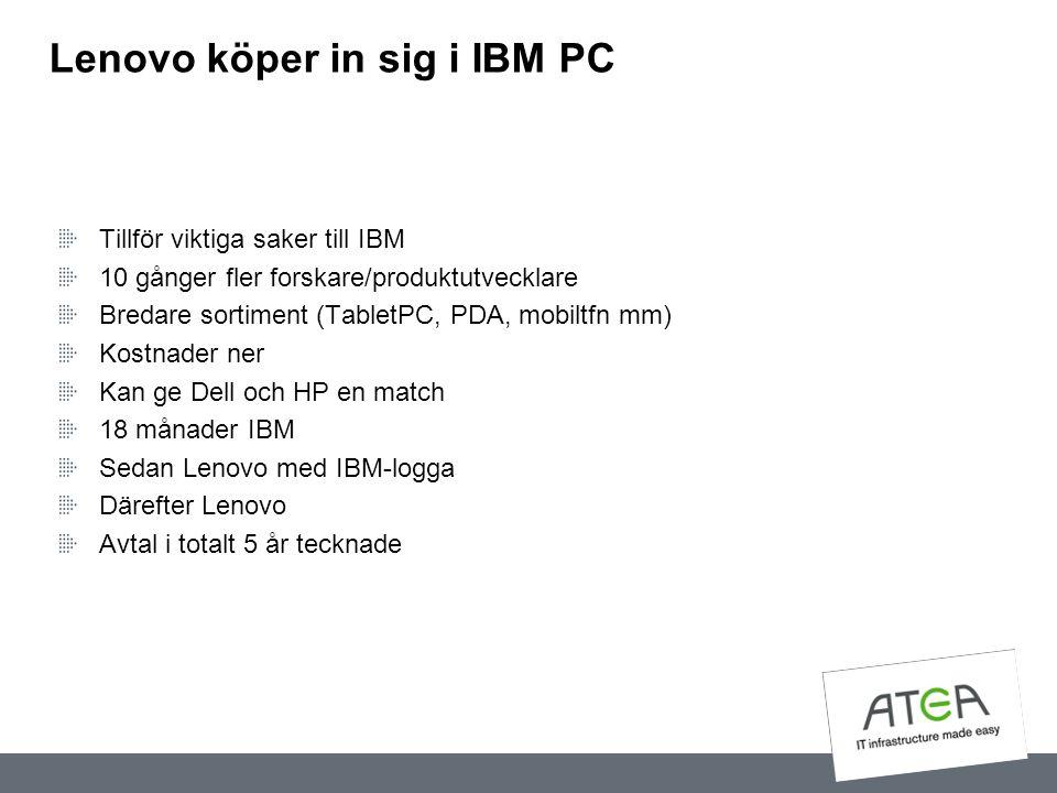 Lenovo köper in sig i IBM PC