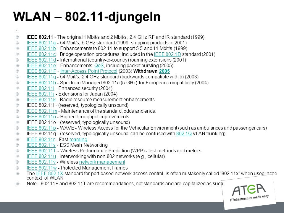 WLAN – 802.11-djungeln : IEEE 802.11 - The original 1 Mbit/s and 2 Mbit/s, 2.4 GHz RF and IR standard (1999)