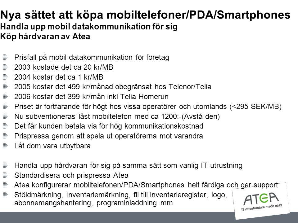 Nya sättet att köpa mobiltelefoner/PDA/Smartphones Handla upp mobil datakommunikation för sig Köp hårdvaran av Atea