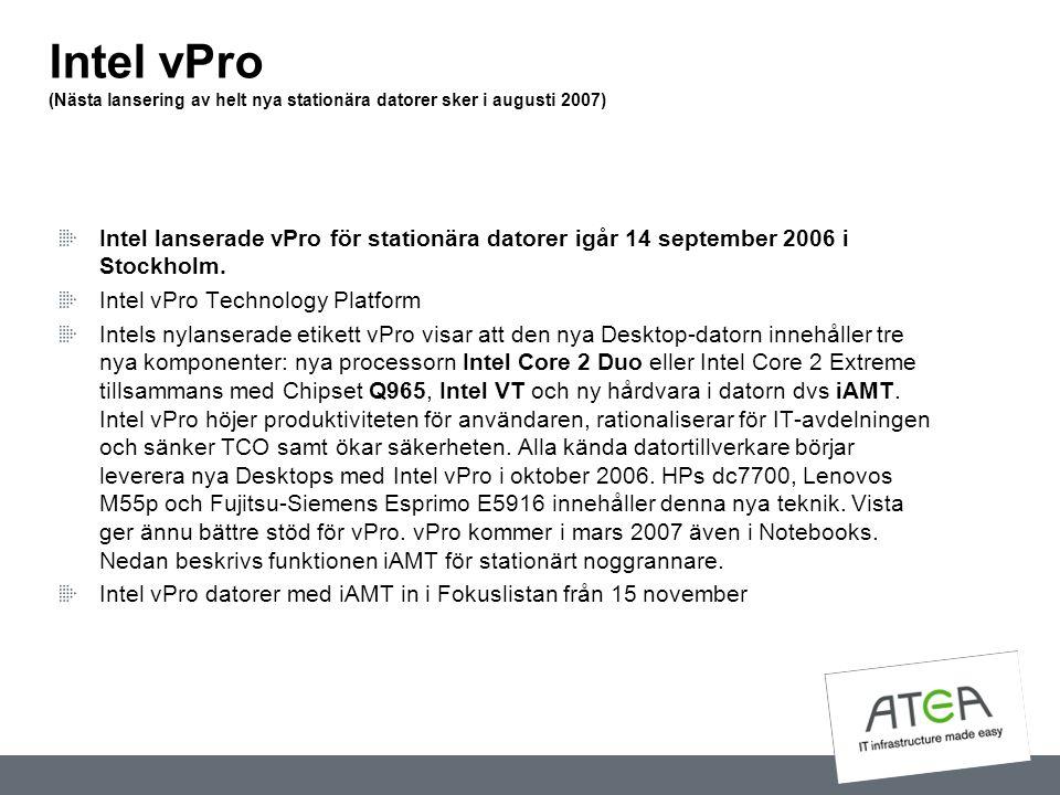 Intel vPro (Nästa lansering av helt nya stationära datorer sker i augusti 2007)