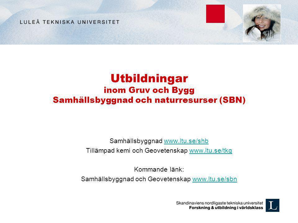 Utbildningar inom Gruv och Bygg Samhällsbyggnad och naturresurser (SBN)