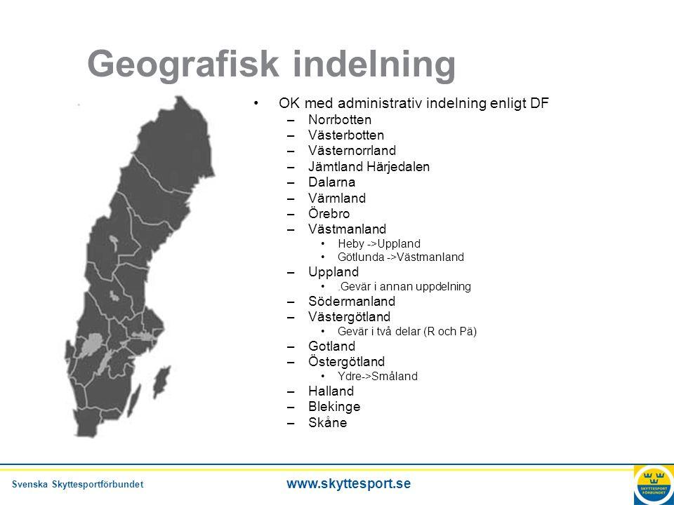 Geografisk indelning OK med administrativ indelning enligt DF