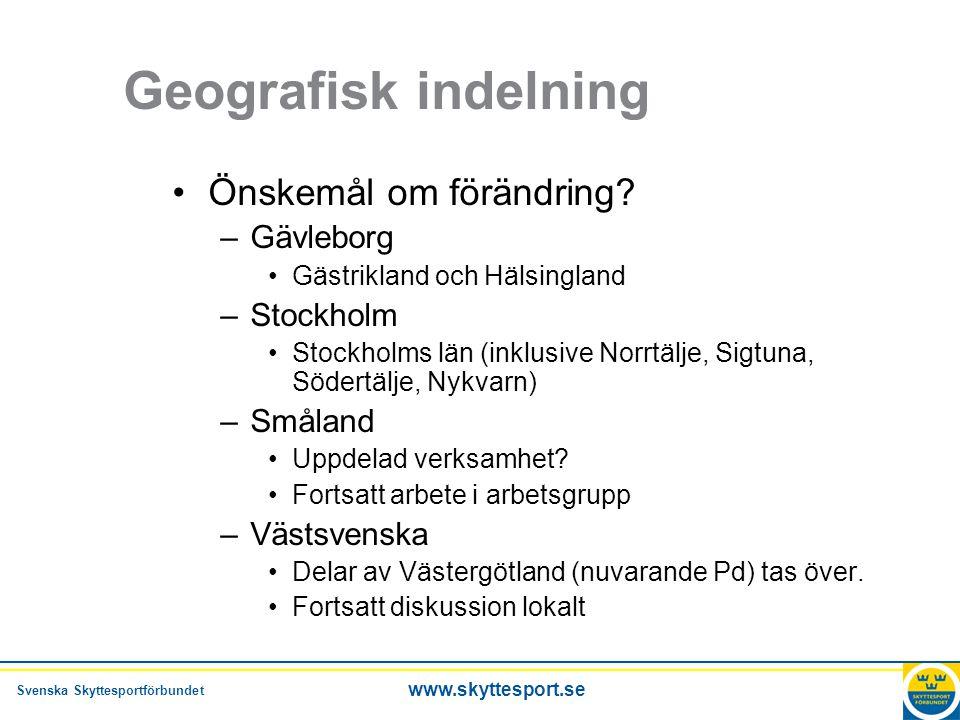 Geografisk indelning Önskemål om förändring Gävleborg Stockholm