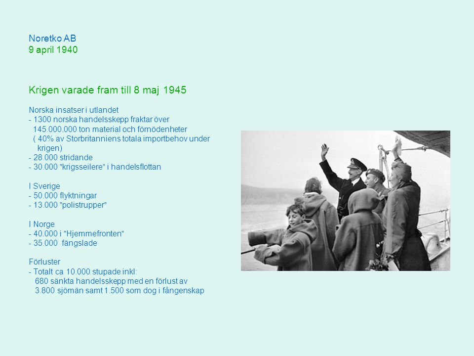 Krigen varade fram till 8 maj 1945