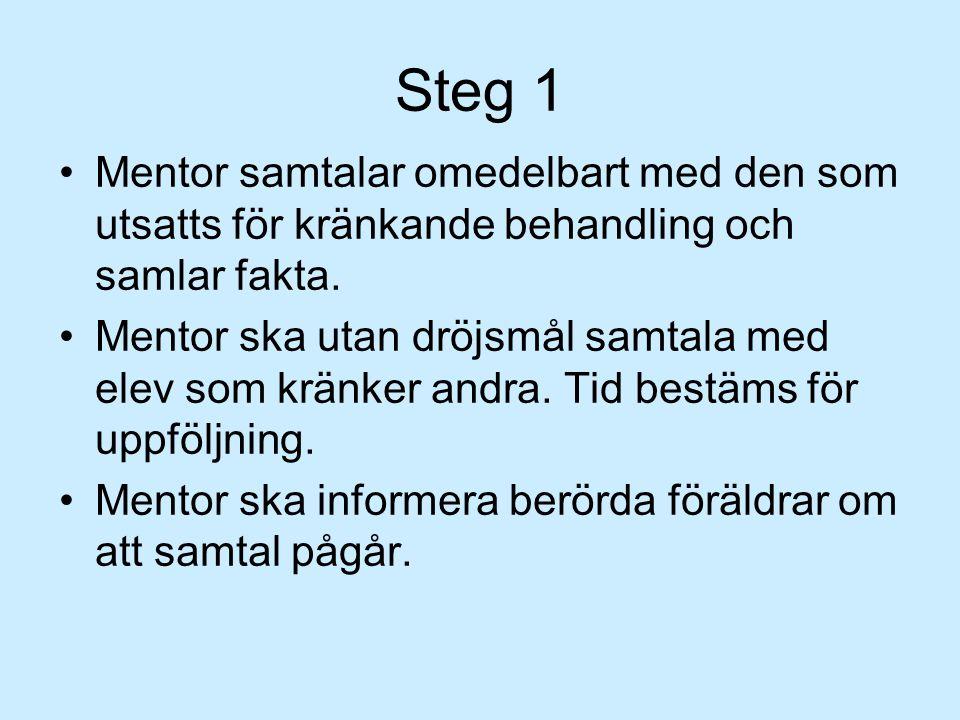 Steg 1 Mentor samtalar omedelbart med den som utsatts för kränkande behandling och samlar fakta.