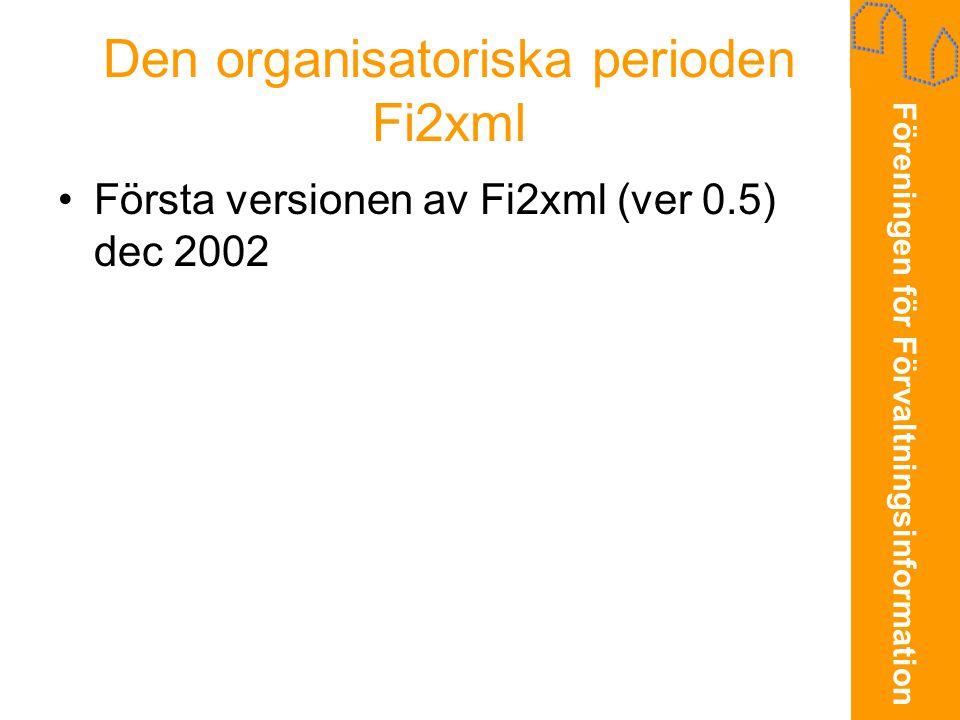 Den organisatoriska perioden Fi2xml