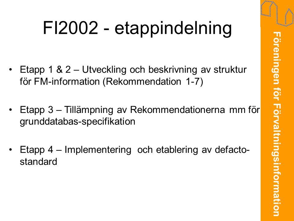 FI2002 - etappindelning Etapp 1 & 2 – Utveckling och beskrivning av struktur för FM-information (Rekommendation 1-7)