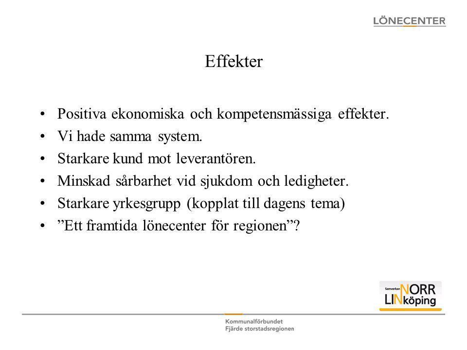Effekter Positiva ekonomiska och kompetensmässiga effekter.