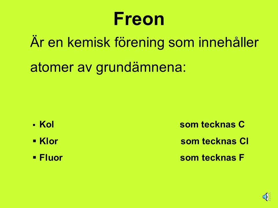 Freon Är en kemisk förening som innehåller atomer av grundämnena: