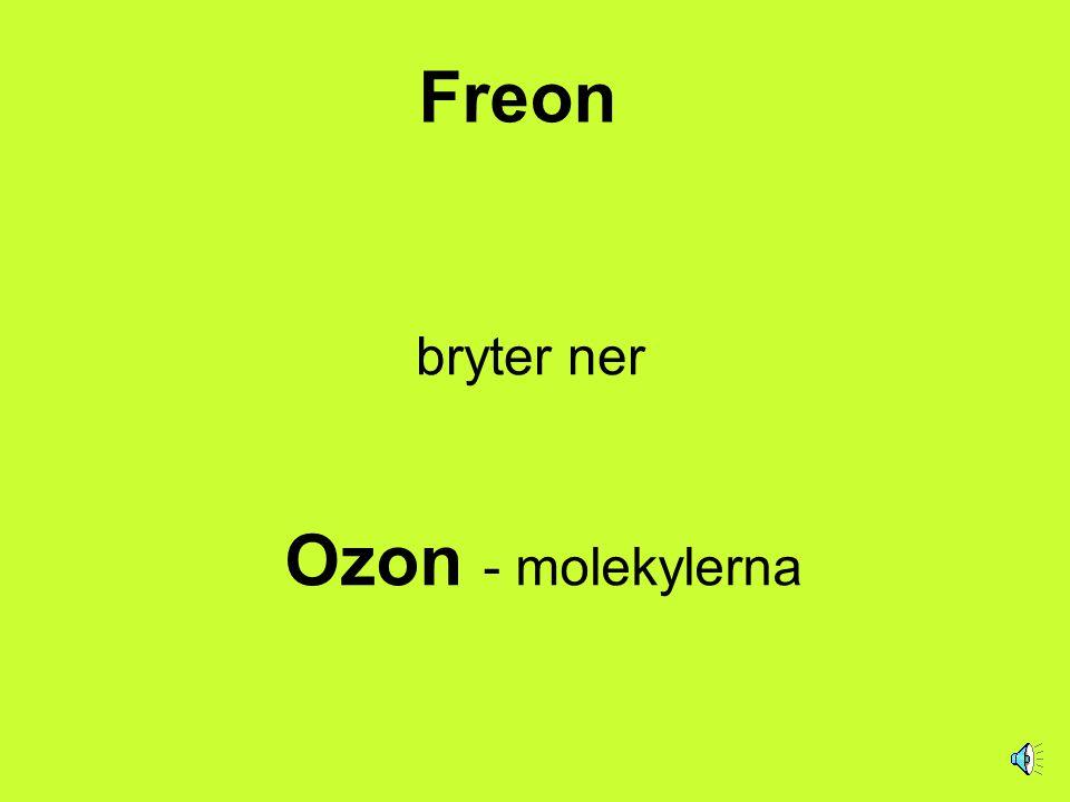 Freon bryter ner Ozon - molekylerna