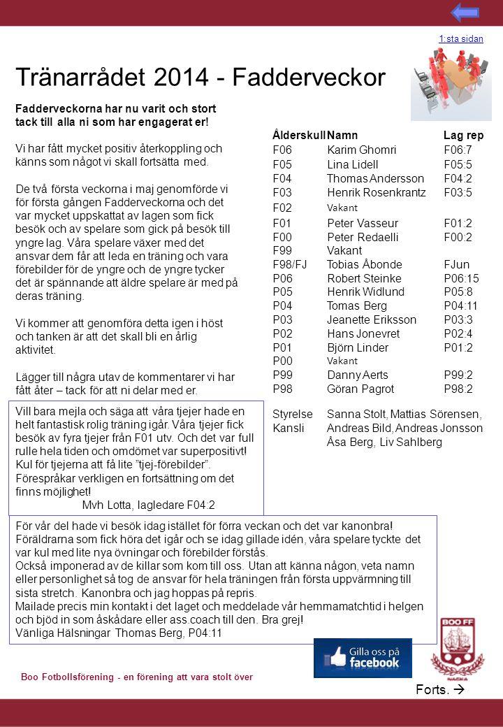 Tränarrådet 2014 - Fadderveckor