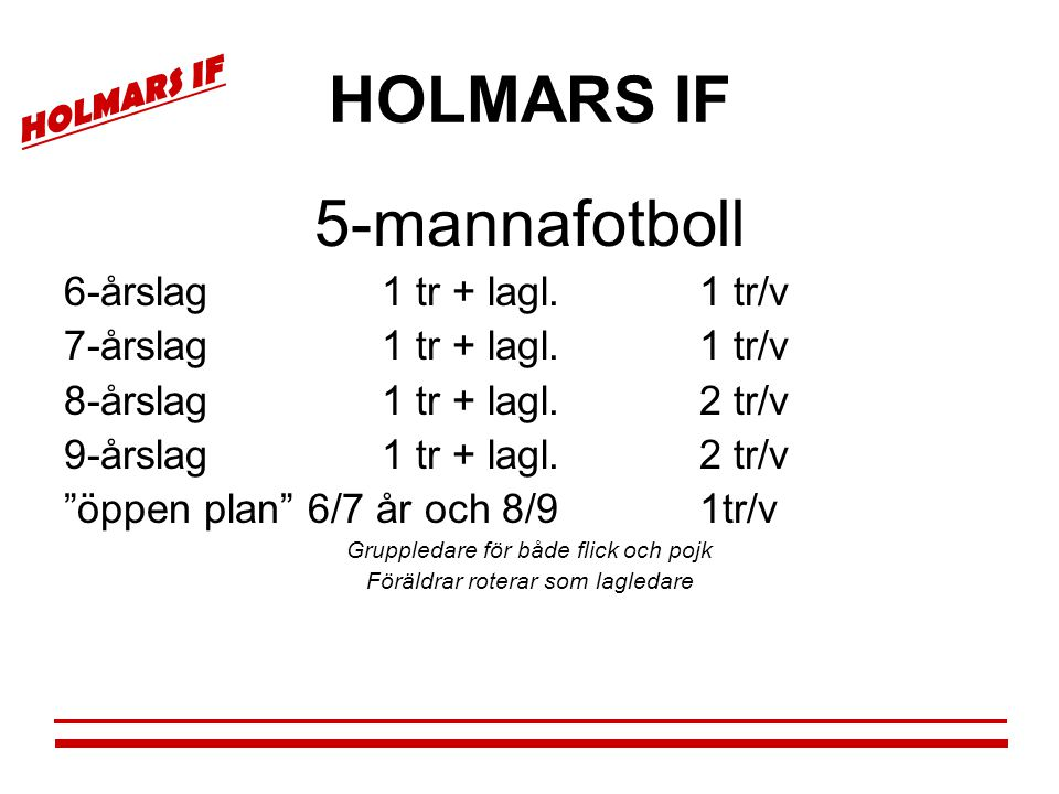 HOLMARS IF 5-mannafotboll 6-årslag 1 tr + lagl. 1 tr/v