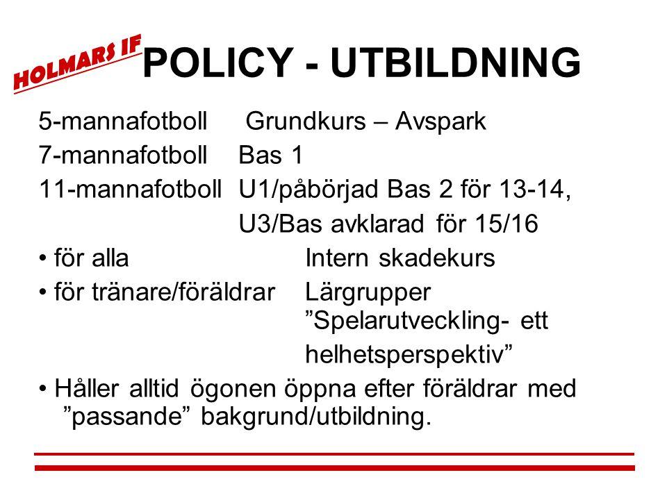 POLICY - UTBILDNING 5-mannafotboll Grundkurs – Avspark
