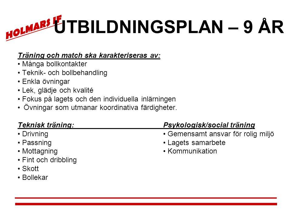 UTBILDNINGSPLAN – 9 ÅR Träning och match ska karakteriseras av: