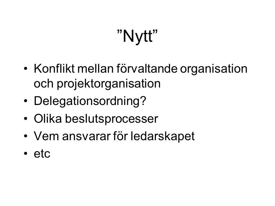 Nytt Konflikt mellan förvaltande organisation och projektorganisation. Delegationsordning Olika beslutsprocesser.