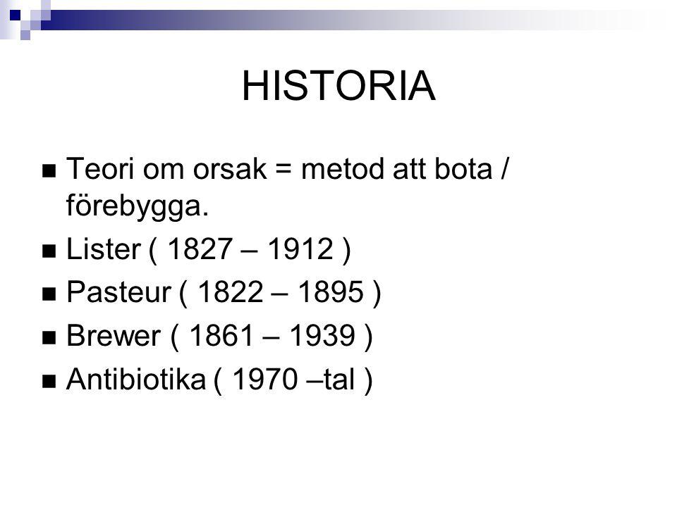 HISTORIA Teori om orsak = metod att bota / förebygga.