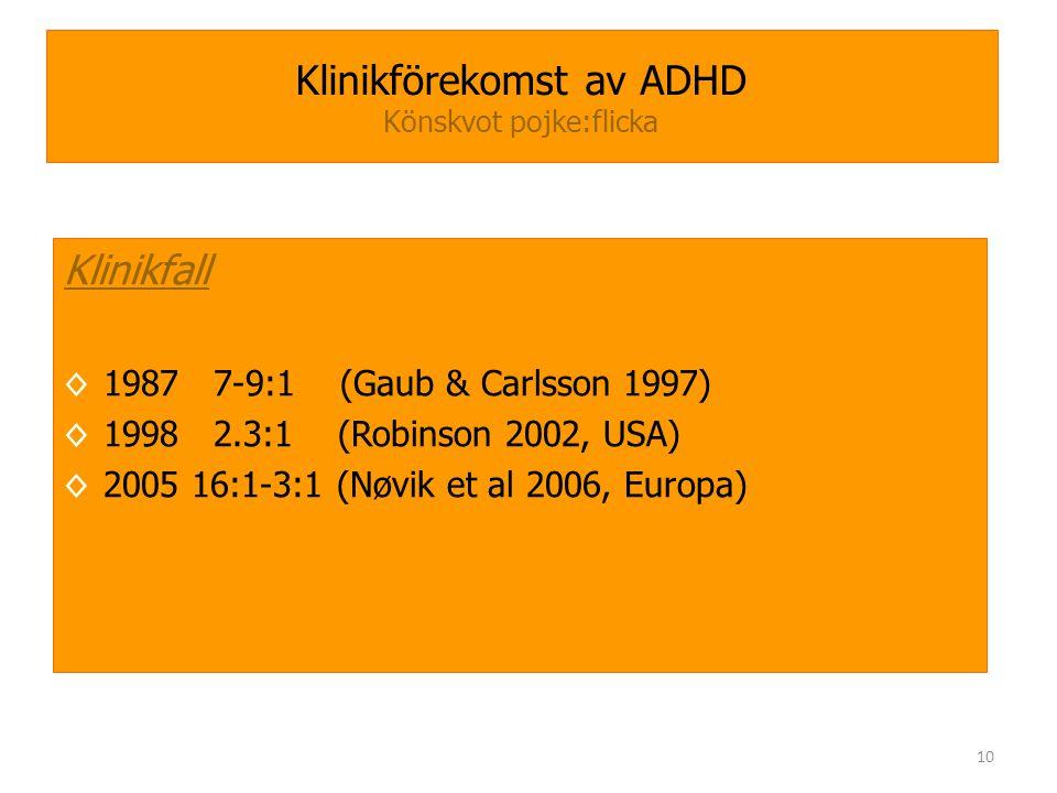 Klinikförekomst av ADHD Könskvot pojke:flicka