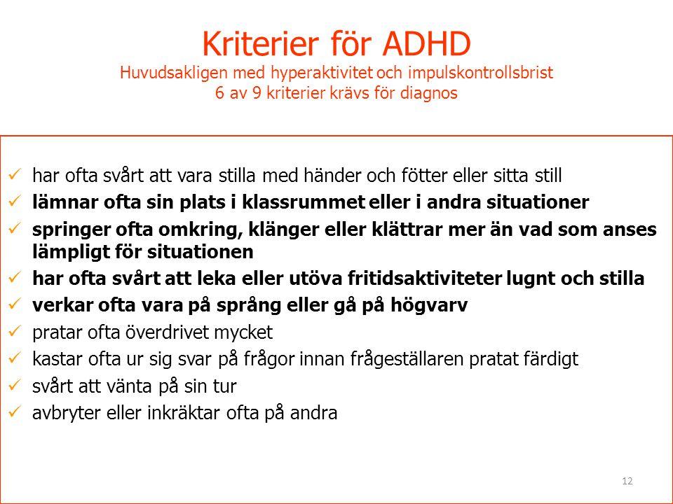 Kriterier för ADHD Huvudsakligen med hyperaktivitet och impulskontrollsbrist 6 av 9 kriterier krävs för diagnos