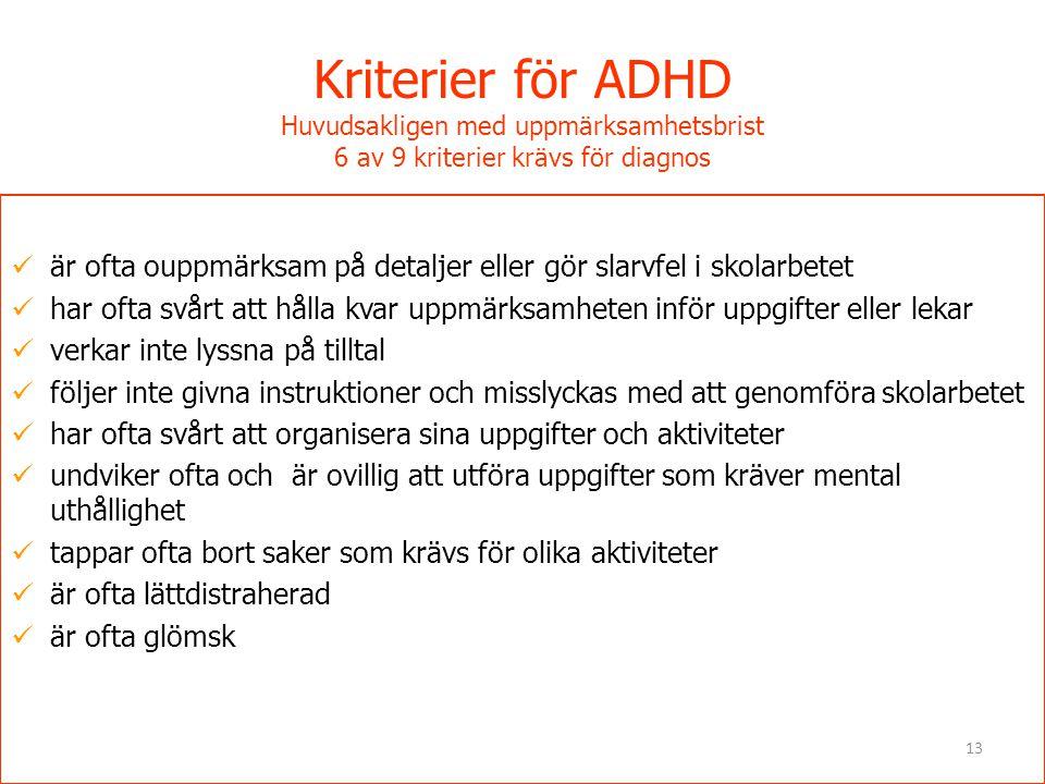 Kriterier för ADHD Huvudsakligen med uppmärksamhetsbrist 6 av 9 kriterier krävs för diagnos