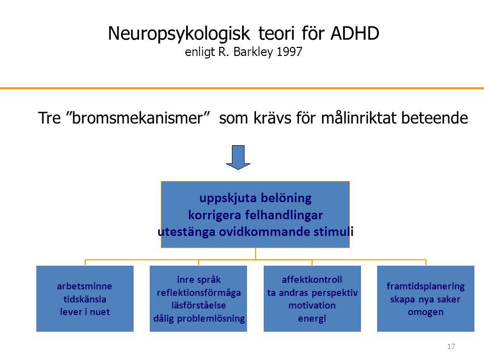 Neuropsykologisk teori för ADHD enligt R. Barkley 1997