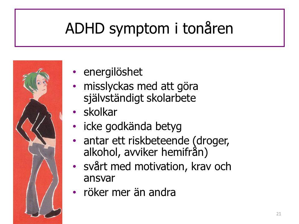 ADHD symptom i tonåren energilöshet