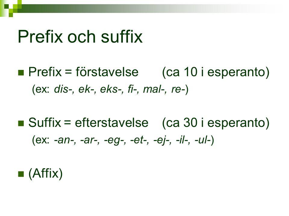 Prefix och suffix Prefix = förstavelse (ca 10 i esperanto)