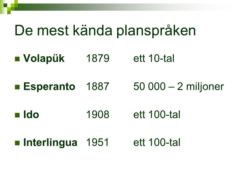 De mest kända planspråken