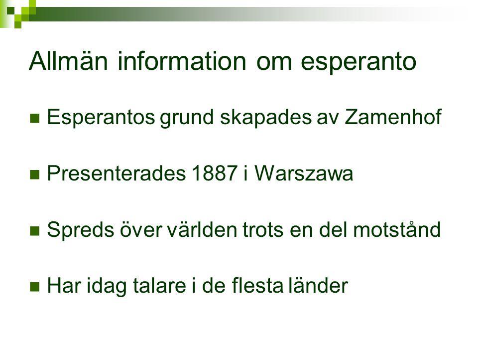 Allmän information om esperanto