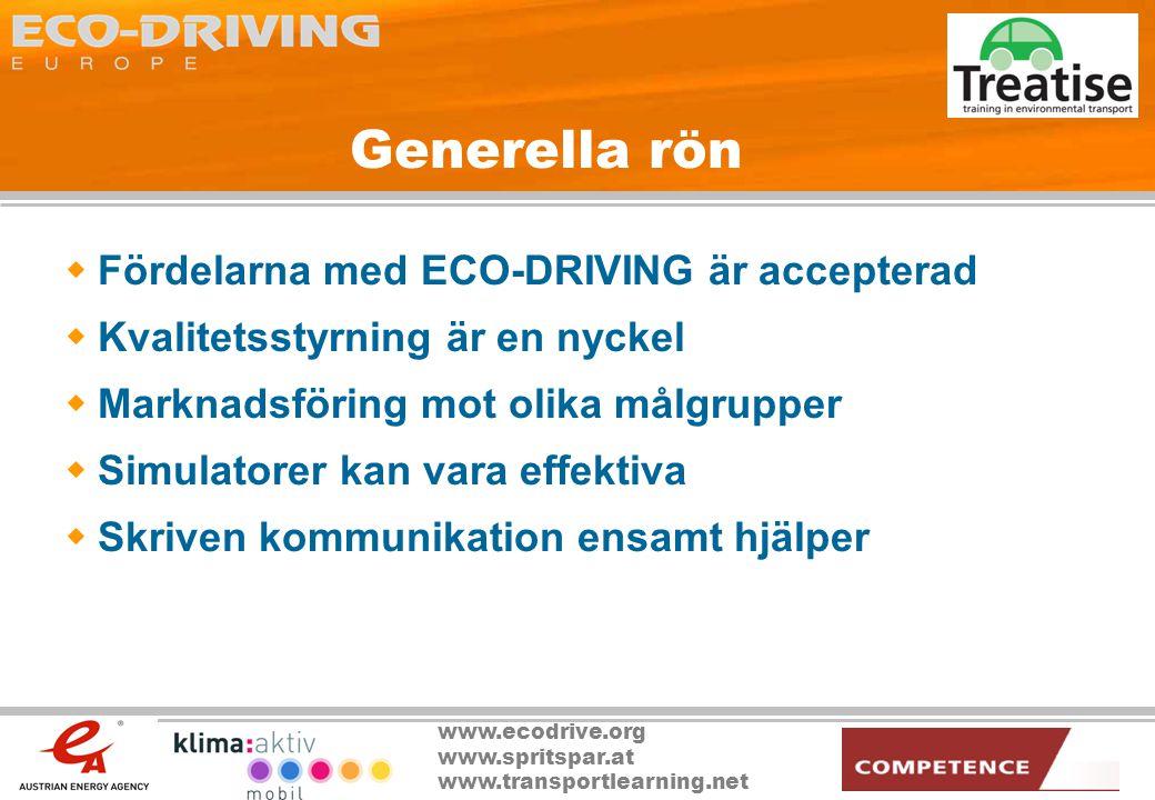 Generella rön Fördelarna med ECO-DRIVING är accepterad