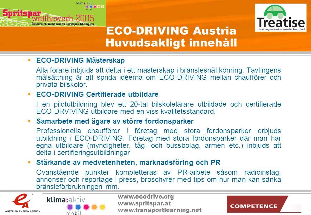 ECO-DRIVING Austria Huvudsakligt innehåll