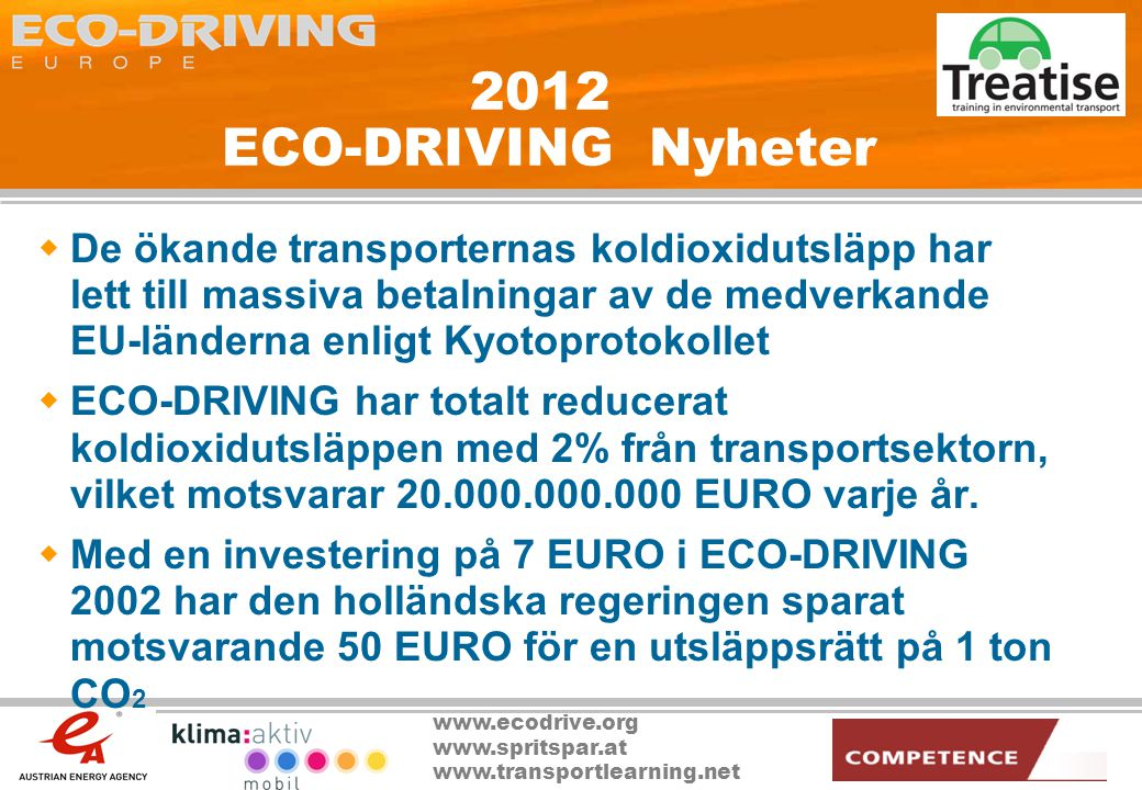 2012 ECO-DRIVING Nyheter