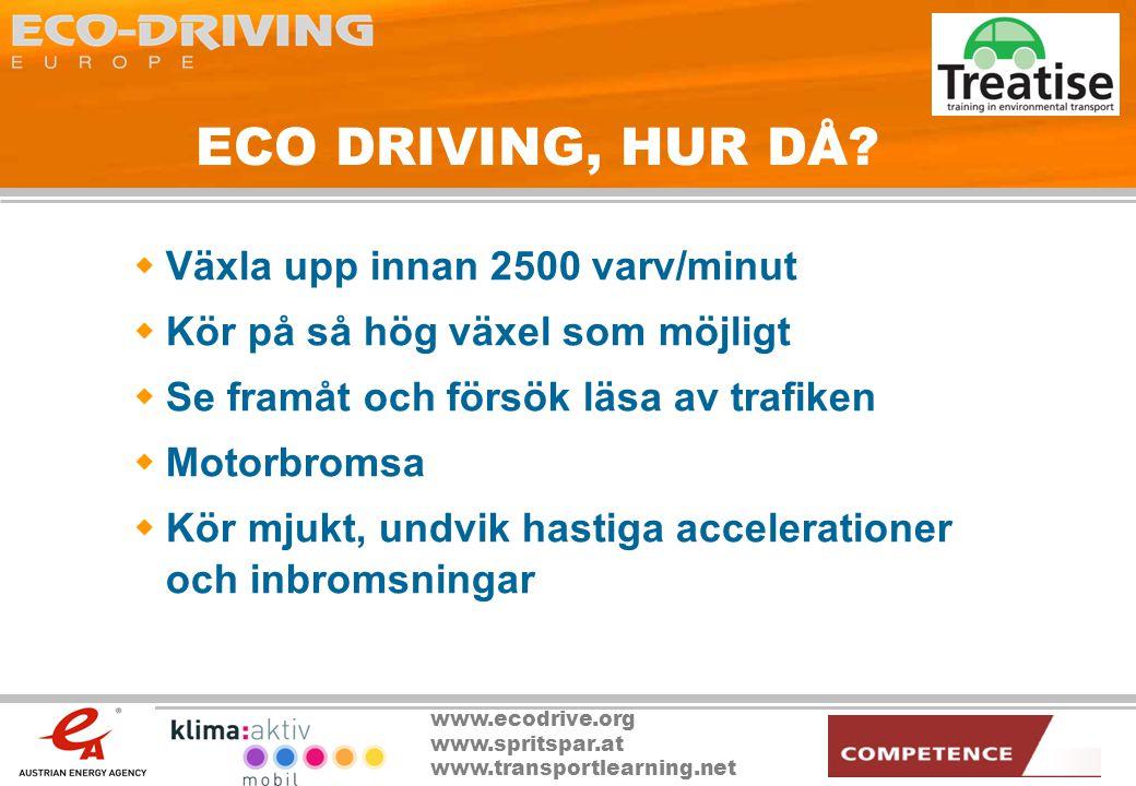 ECO DRIVING, HUR DÅ Växla upp innan 2500 varv/minut
